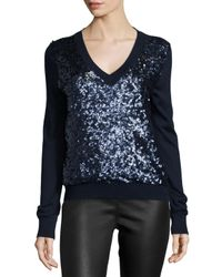 Magaschoni - Blue Long-sleeve Sequined-front Sweater - Lyst