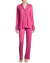 Cosabella - Pink Bella Contrast-trim Long-sleeve Pajama Set - Lyst