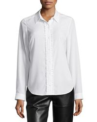 NYDJ | White Fit Solution Ruffle Blouse | Lyst