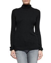Vince - Black Long-sleeve Skinny-rib Sweater - Lyst