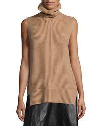 Vince - White Ribbed Sleeveless Turtleneck Sweater - Lyst