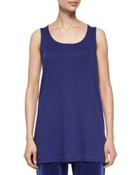 Joan Vass | Blue Oversized Cotton Tank | Lyst