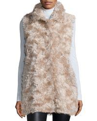 Sofia Cashmere - Gray Mohair Hidden-placket Vest - Lyst