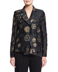 Donna Karan - Black Metallic Floral-embroidered Jacket - Lyst