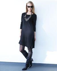 Eileen Fisher | Black Long-sleeve Merino Jersey Asymmetric Dress | Lyst