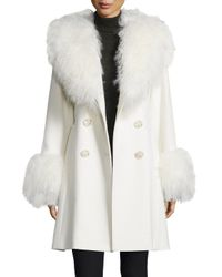 Sofia Cashmere | White Fur-Trimmed Wool and Cashmere-Blend Coat  | Lyst