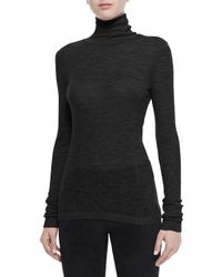 T By Alexander Wang | Black Sheer Roll-Neck Sweater | Lyst