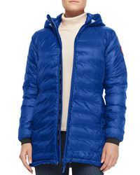Canada Goose - Blue Camp Hooded Mid-length Puffer Coat - Lyst