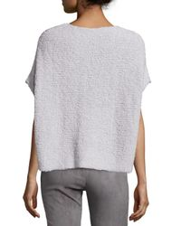 Lafayette 148 New York - Gray Round-neck Short-sleeve Pullover Top - Lyst