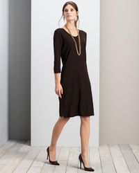 Misook | Black Clssc 3/4 Slv Vnck Dress | Lyst
