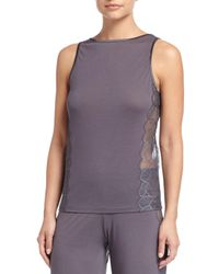 La Perla | Gray Iris Sleeveless Pajama Top With Lace | Lyst