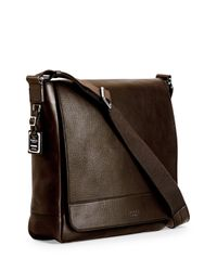 Shinola - Brown North/south Leather Messenger Bag for Men - Lyst
