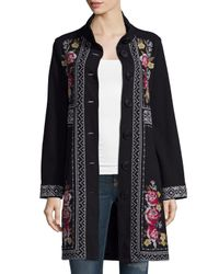 Johnny Was | Black Joy Embroidered Military Coat | Lyst