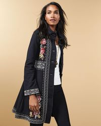 Johnny Was - Black Joy Embroidered Military Coat - Lyst
