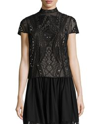 Alice + Olivia - Black Viktoria Embroidered Mock-neck Top - Lyst