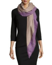 Agnona | Natural Wool/silk Contrast-border Scarf | Lyst