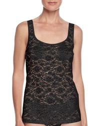 Hanro | Black Messina Stretch-lace Tank | Lyst