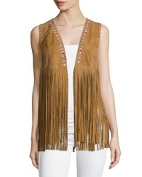 Lamarque | Brown Sonia Embroidered Suede Fringe Vest | Lyst