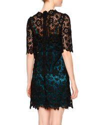 Dolce & Gabbana - Black Floral-lace Dress W/contrast Slip - Lyst