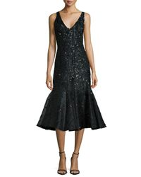 Rachel Gilbert   Black Acacia Embellished Fluted Dress   Lyst
