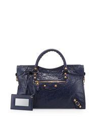 Balenciaga   Blue Giant 12 City Lambskin Satchel Bag   Lyst