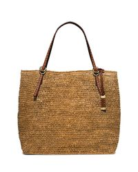 Michael Kors | Brown Santorini Large Raffia Tote Bag | Lyst