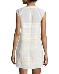 Belstaff - White Cap-sleeve Lace Dress W/leather Trim - Lyst
