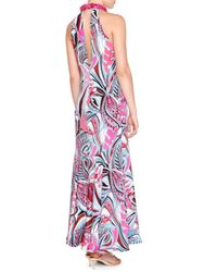 Emilio Pucci - Pink Sleeveless Embellished-neck Gown - Lyst
