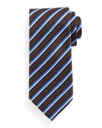 Ermenegildo Zegna - Blue Textured Stripe Silk Tie for Men - Lyst