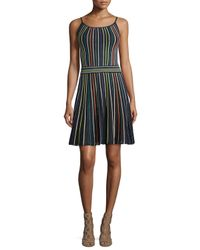 dd3a8e6559c6 Lyst - M Missoni Micro-striped Fit- -flare Dress in Black