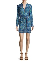 Étoile Isabel Marant - Blue Seen Printed Silk Tie-waist Dress - Lyst