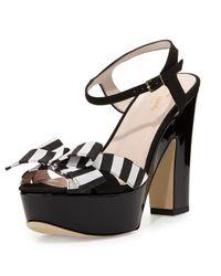 kate spade new york | Black Annie Striped Grosgrain Platform Sandal | Lyst