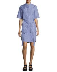 Adam Lippes - Blue Striped Poplin Half-sleeve Shirtdress - Lyst