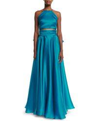MILLY | Blue Satin Bow-back Skirt | Lyst