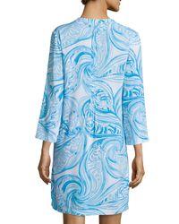 Lilly Pulitzer - Blue Sarasota 3/4-sleeve Printed Tunic Dress - Lyst