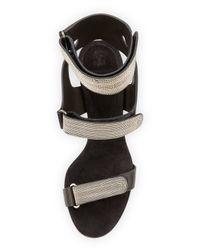 Brunello Cucinelli - Metallic Monili Triple-strap High-heel Sandal - Lyst