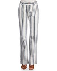 See By Chloé | Blue Striped Boot-cut Trousers | Lyst