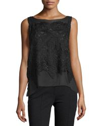 Donna Karan | Black Sleeveless Bateau-neck Macrame-overlay Top | Lyst