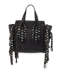 Valentino | Black Small C Rockee Leather Fringe Rolling Studded Tote Bag | Lyst