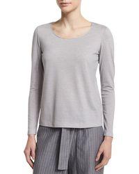 Lafayette 148 New York | Gray Long-sleeve Metallic-neck Tee | Lyst