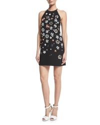 Victoria, Victoria Beckham - Black Sleeveless Embellished Mini Shift Dress - Lyst
