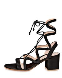 Gianvito Rossi - Black Artemis Lace-up 60mm Sandal - Lyst