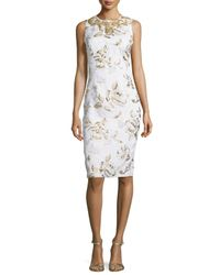 Badgley Mischka | Multicolor Sleeveless Floral-print Cocktail Dress | Lyst