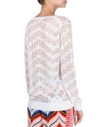 KENZO - White Sheer Burnout Crewneck Sweater - Lyst