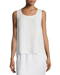 Lafayette 148 New York | White Cleo Sleeveless Sequined-front Blouse | Lyst