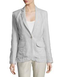 Neiman Marcus - Gray One-button Fitted Linen Blazer - Lyst