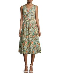 Alice + Olivia   Multicolor Jenn Sleeveless Floral Embroidered Dress   Lyst