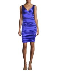 THEIA | Blue Sleeveless Ruched Taffeta Cocktail Dress | Lyst