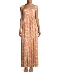 Rachel Pally - Multicolor Isa Cap-sleeve Printed Long Dress - Lyst