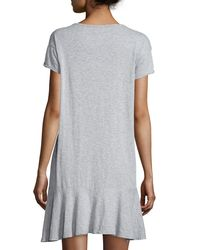 Velvet - Gray Salome Short-sleeve Flounce-hem Dress - Lyst